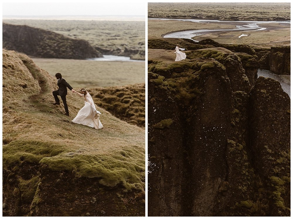 The stunning views of Fjadrargljufur Canyon in Iceland make an incredibly epic backdrop for an intimate wedding or private elopement. Images taken by traveling wedding photographer Maddie Mae.