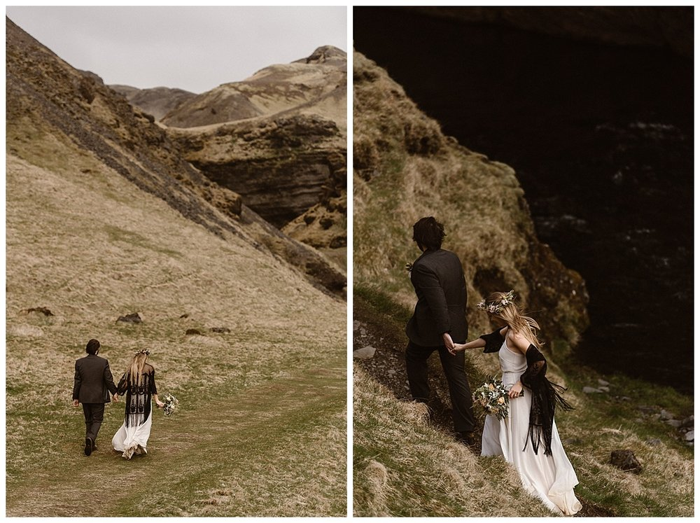 Heading into the hills of Kvernufoss, Julie and Tim continued their epic adventurous elopement throughout Iceland with their intimate wedding photographer Maddie Mae in tow.