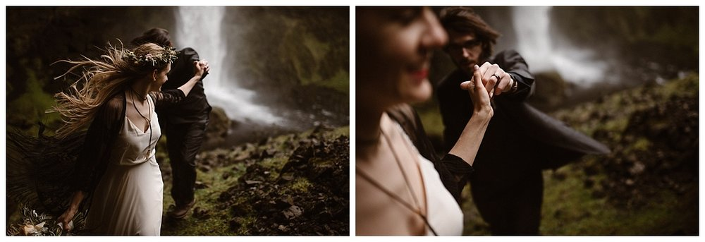 """Follow me,"" Julie playfully said to her groom, leading him out of the mossy cave near Kvernufoss waterfall where they had wandered in as part of their adventurous elopement through Iceland. Photos by traveling wedding photographer, Maddie Mae."