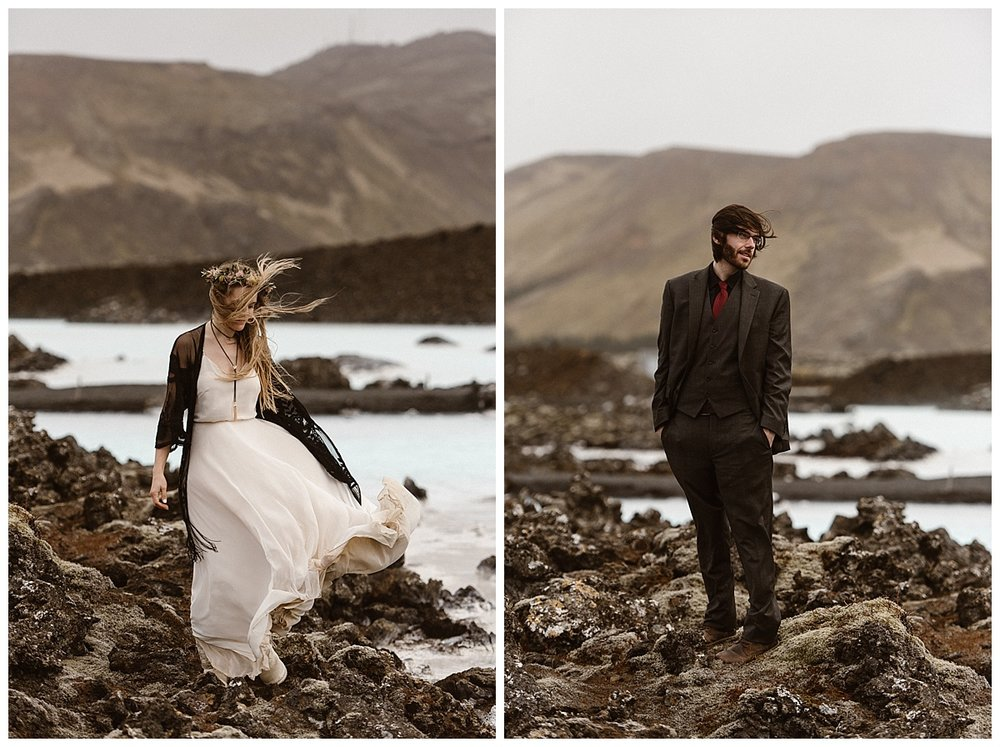 The wind, a constant theme throughout their epic Iceland elopement, didn't fail them at the Blue Lagoon, the last stop on their adventurous elopement tour. Photos captured by traveling wedding photographer Maddie Mae.