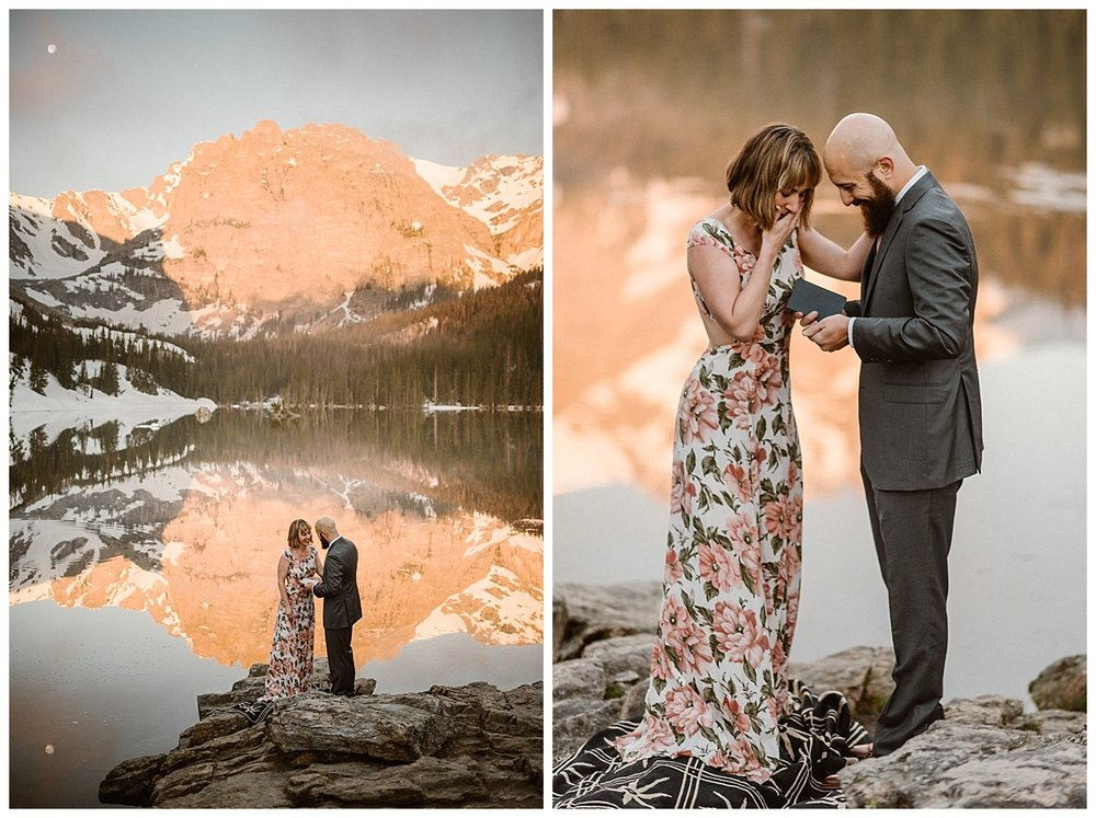 Justin opened his vow book and with the only the mountains to hear them professed his love and promises to his bride. Their stunning Rocky Mountain National Park elopement at Loch Vale captured by intimate wedding photographer Madde Mae.