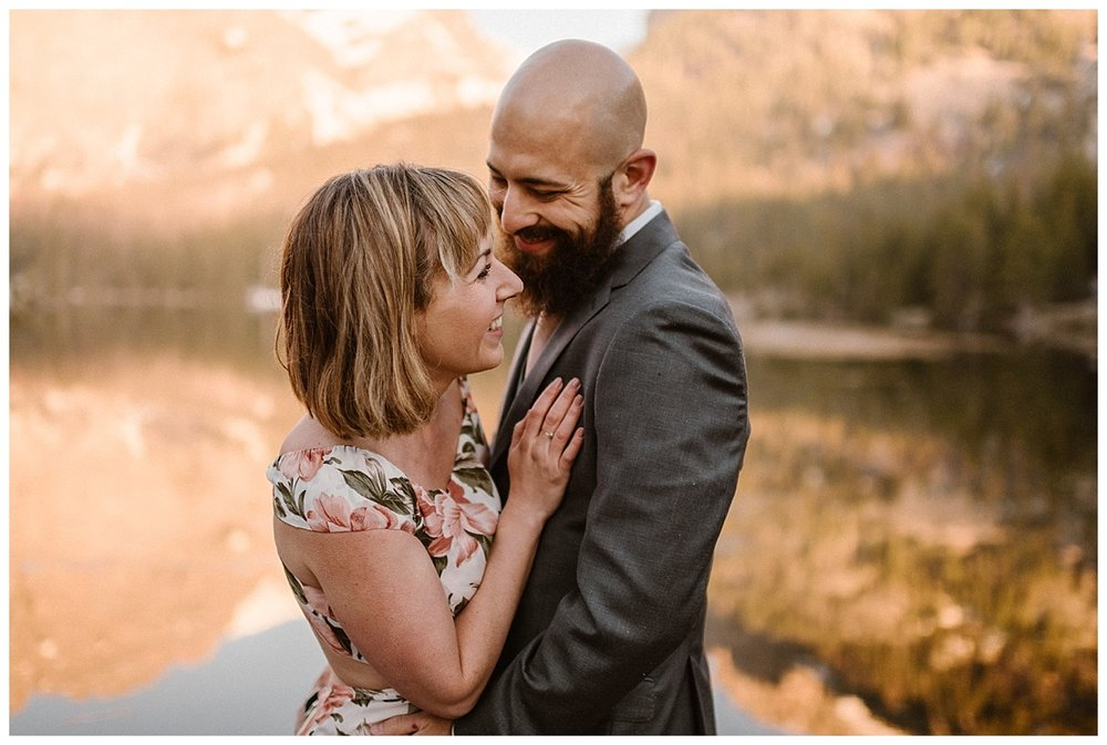 With no one around, besides their intimate wedding photographer Maddie Mae, this vintage inspired adventurous couple eloped high in the mountains of Rocky Mountain National Park at Loch Vale.