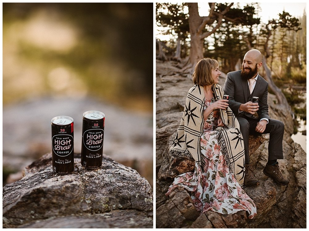 Bringing along some cold brew coffee cans, this adorable couple took a seat over looking the Loch so they could enjoy their morning coffee before hiking onwards for their intimate elopement adventure with traveling wedding photographer Maddie Mae.