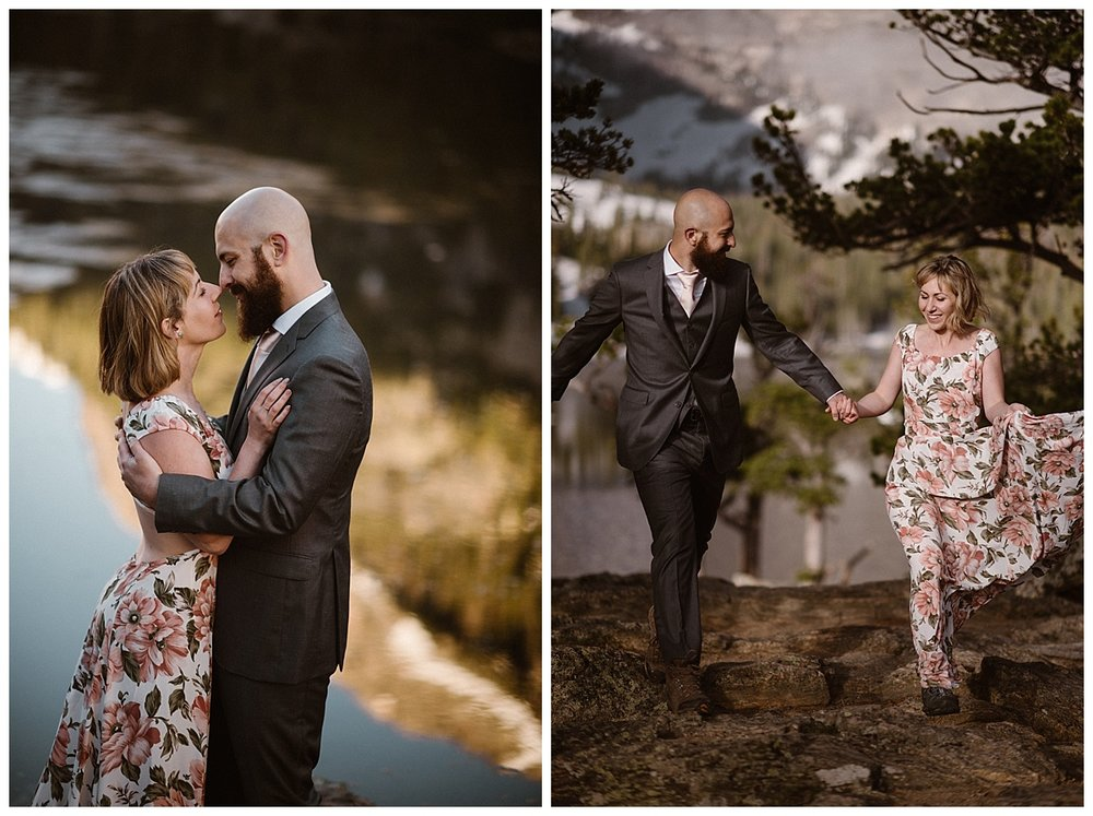 Continuing to hike further on towards Sprague Lake in RMNP this non-traditional couple picked a full day adventuring with their intimate wedding photographer Maddie Mae for their wedding day. Surrounded with nature and able to do what they loved, an elopement can be such a personal way to celebrate love!