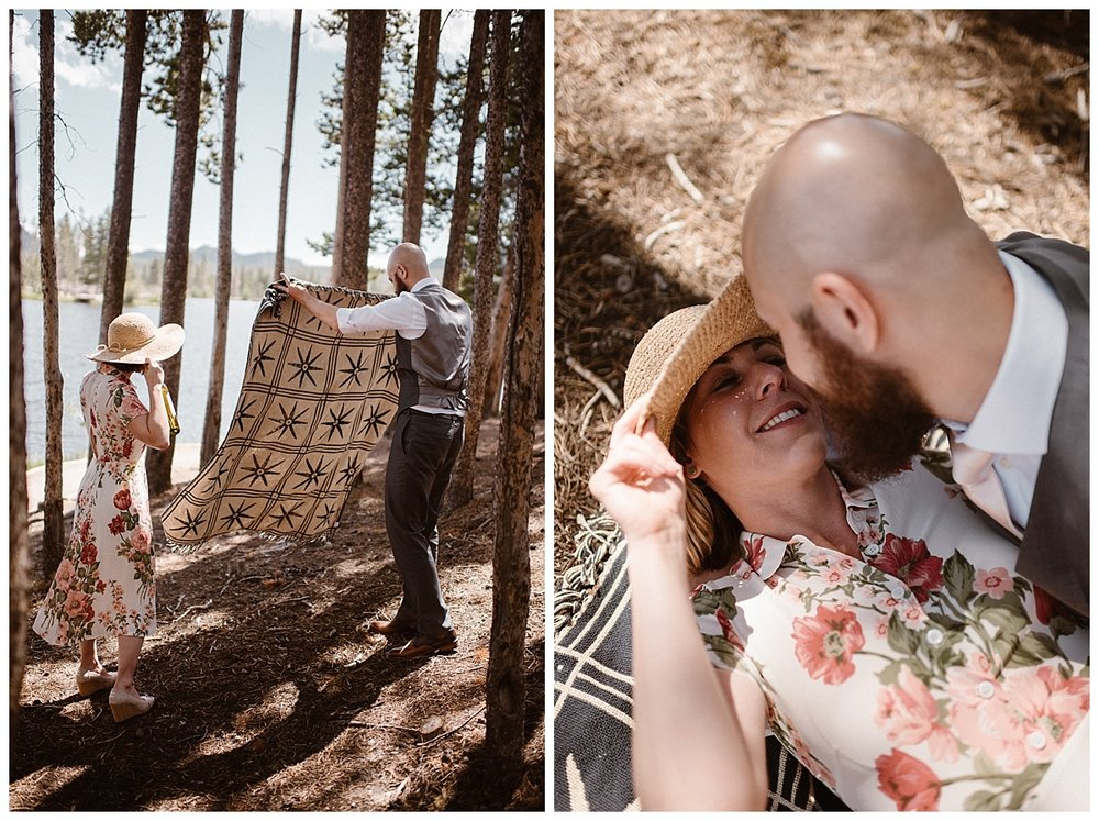 They pulled their wedding blanket back out and spread it on the forest floor next to Sprague Lake where they had just hiked to after their intimate elopement ceremony at Loch Vale. Resting for a moment and sharing an intimate moment; captured by Maddie Mae Photography.