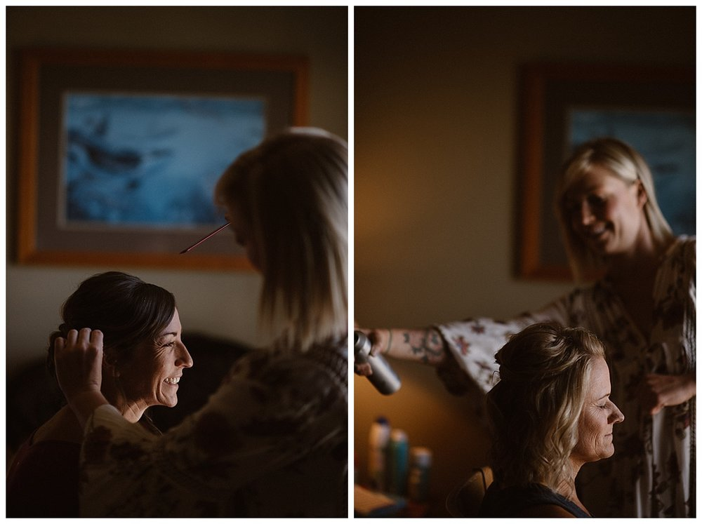 Both brides were smiles and nervous giggles as they had their hair done in preparation for their intimate and adventurous helicopter elopement through Tofino BC Canada with their traveling elopement photographer Maddie Mae with them to capture each moment.