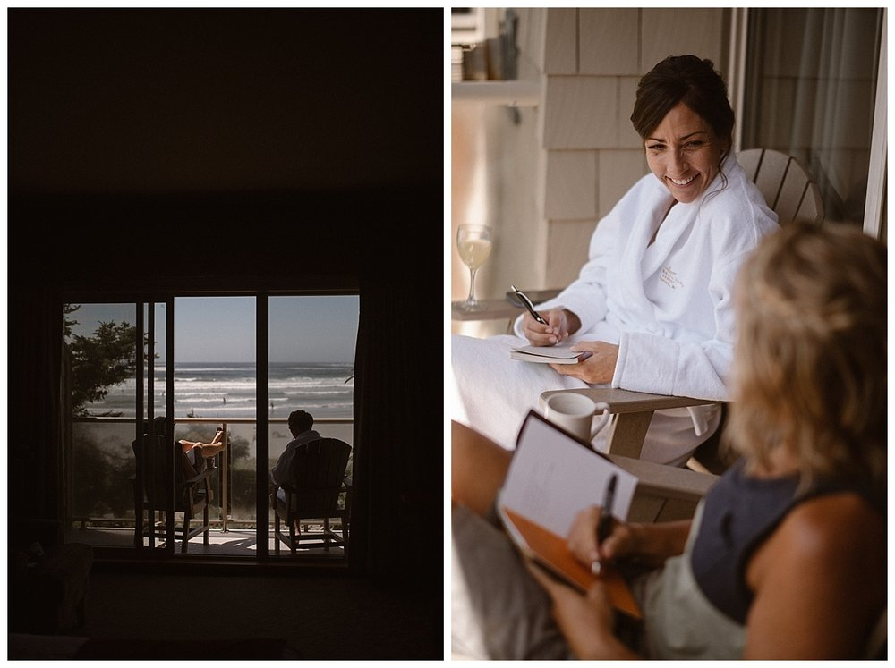 Kari and Karin sat on the porch overlooking the Tofino beach on the morning of their elopement as they wrote their intimate wedding vows together. Their intimate adventurous elopement through Tofino BC Canada photographed by traveling wedding photographer Maddie Mae.