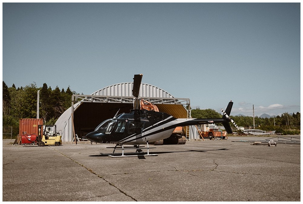 They pulled up to their trusty steed for their adventurous elopement, a helicopter surely is the coolest way to be delivered to your ceremony location! This epic intimate elopement through Tofino BC captured by traveling wedding photographer Maddie Mae.