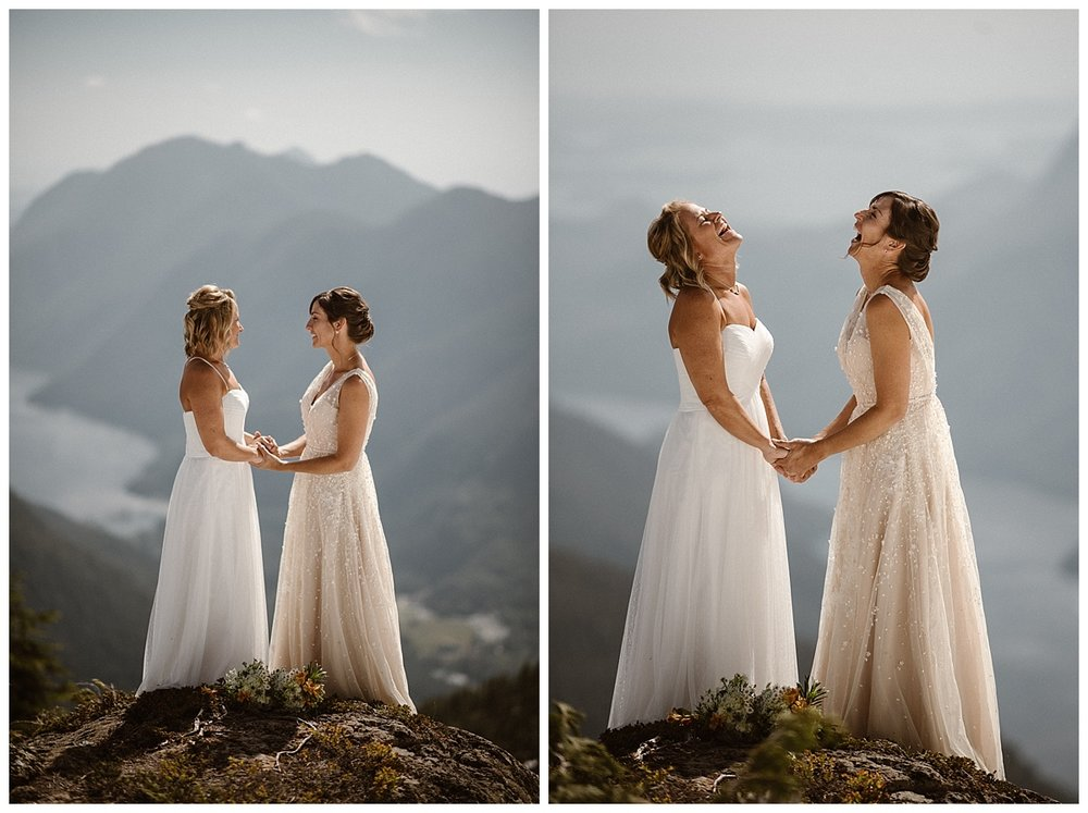 These stunning brides held hands and laughed as they began their intimate elopement ceremony high in the mountains of Tofino BC. Photos by traveling wedding photographer Maddie Mae.