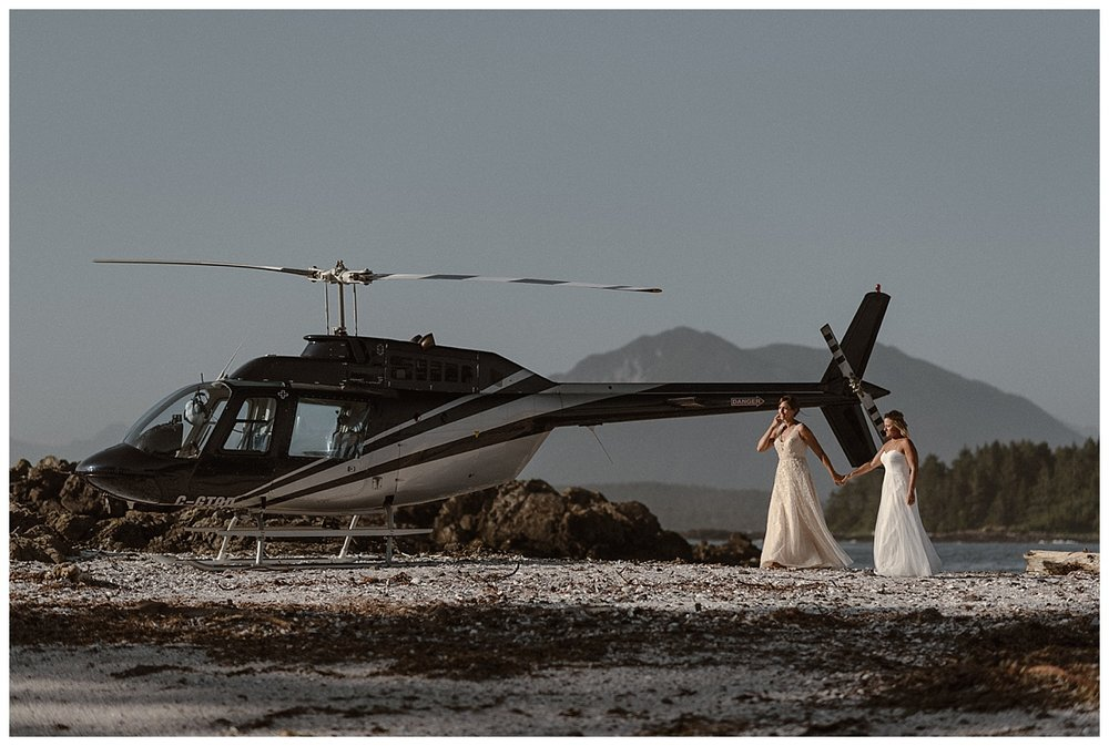 The continued wandering around Cox Bay in Tofino BC after their private lunch on a secluded beach. Kari and Karin celebrated their marriage by eloping via helicopter with their traveling wedding photographer Maddie Mae.