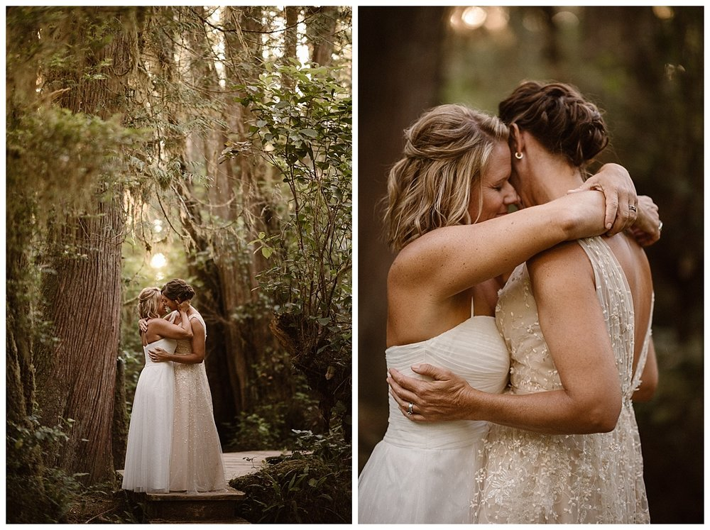 The found the end of the path and paused with the light making them glow like forest nymphs. This romantic adventurous elopement via helicopter through Tofino BC was photographed by traveling wedding photographer Maddie Mae.