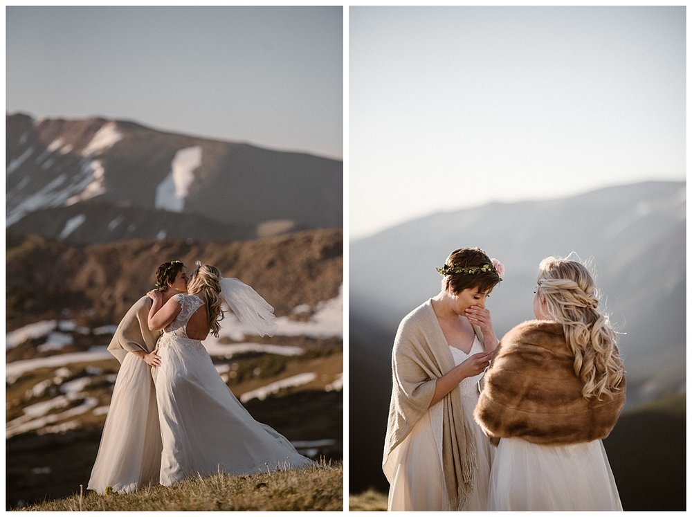 As Dona said her personalized wedding vows to her mountain mermaid bride she couldn't hold back her emotions. Their private elopement up Jonas Pass near Winter Park Colorado photographed by traveling wedding photographer Maddie Mae.