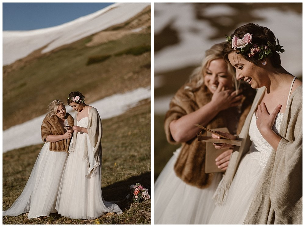 As their ceremony ended, Malisa surprised Dona by reading some letters that their families had sent along so they too could be there in a little way. This emotional elopement up Jonas Pass was photographed by traveling wedding photographer Maddie Mae.