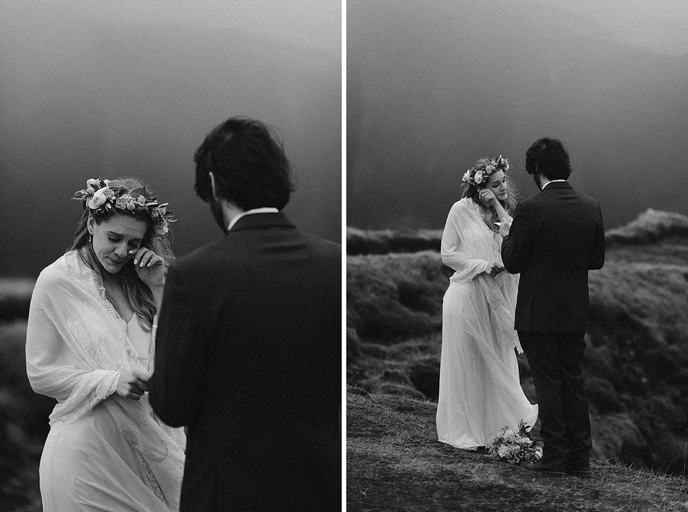 Bringing tears to Julie's eyes with his sweetest words, Tim said his vows in privacy at the top of Fjadrargljufur Canyon in Iceland during their intimate elopement. Photos captured by traveling wedding photographer, Maddie Mae.