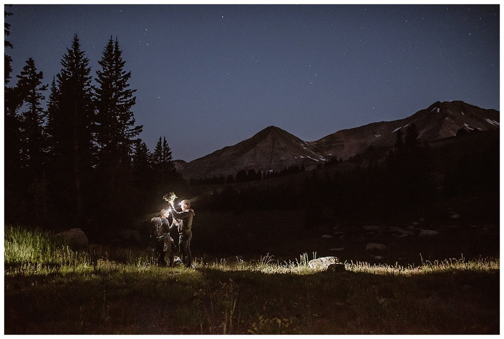 Starting before sunrise, Kourtney and Gabriel began their epic hiking elopement through Scarp Ridge in Crested Butte with only their headlamps and their intimate wedding photographer Maddie Mae with them.