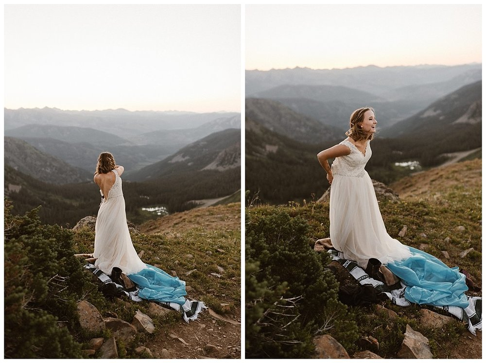Kourtney giggled as she put on her flowing white wedding dress. She and Gabriel were about to say their vows in private at the top of Scarp Ridge in Crested Butte for their intimate hiking elopement, a true example of what their sense of adventurous love looks like. Photos by traveling wedding photographer Maddie Mae.