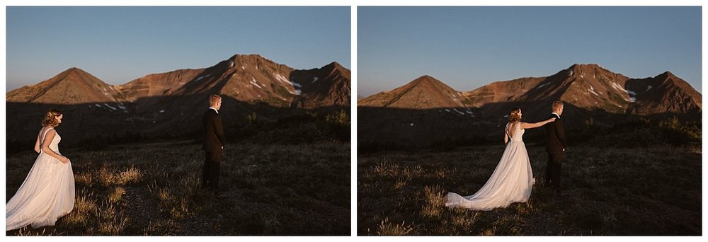 Kourtney approached Gabriel for their first look as the sun rose over Scarp Ridge near Crested Butte where they chose to elope in private with only their traveling wedding photographer Maddie Mae there to capture each intimate moment.