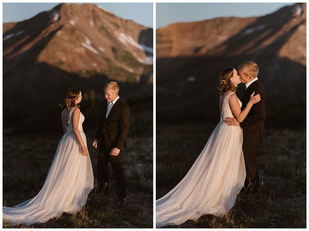 Although it was just them, their love could be felt for miles. With the harsh warm sun on their skin they embraced before beginning their intimate and private elopement ceremony on Scarp Ridge with only their intimate wedding photographer Maddie Mae there to capture each stunning moment.
