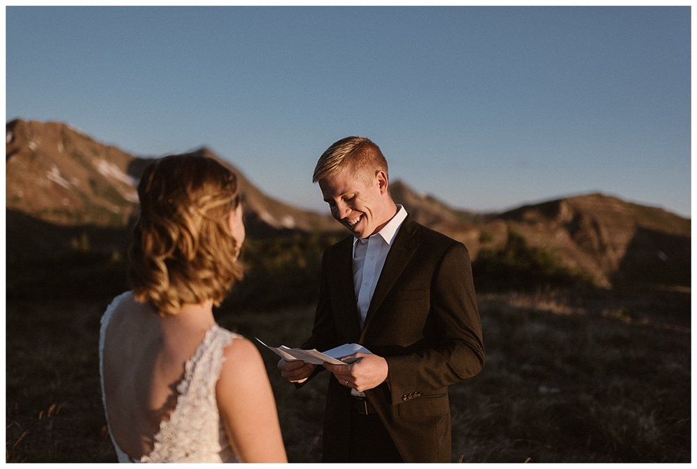 Gabriel's vows reminding Kourtney of all the reasons why she was marrying her best friend high on a mountain top with no one but their intimate elopement photographer Maddie Mae with them. This adventurous couple hiked their way up Scarp Ridge before sunrise to say their vows in private.