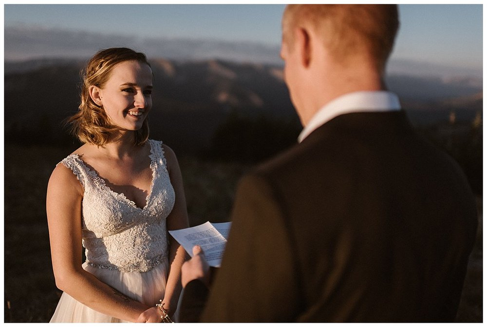Excited to be finally living their dream day the way they always wanted to - with a private elopement ceremony at sunrise high above Crested Butte on Scarp Ridge with only their intimate wedding photographer Maddie Mae there to capture each epic moment.