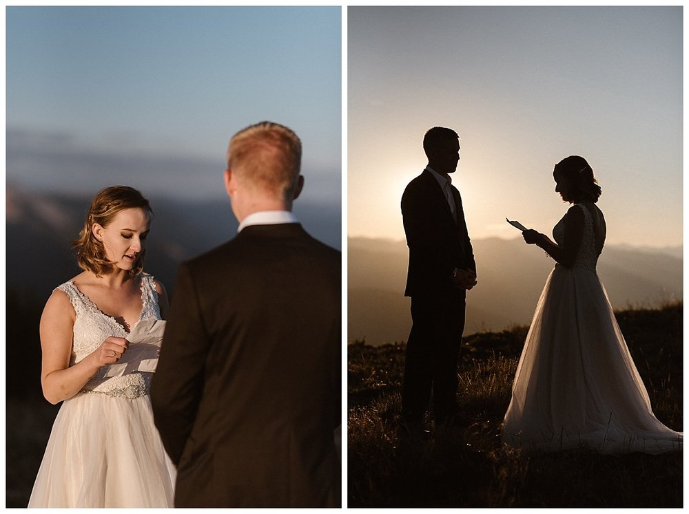 Kourtney began her personalized vows with the harsh morning light making her glow. She and Gabriel threw tradition to the wind and eloped privately at the top of Scarp Ridge just outside Crested Butte, Colorado with only their intimate wedding photographer Maddie Mae as their witness.