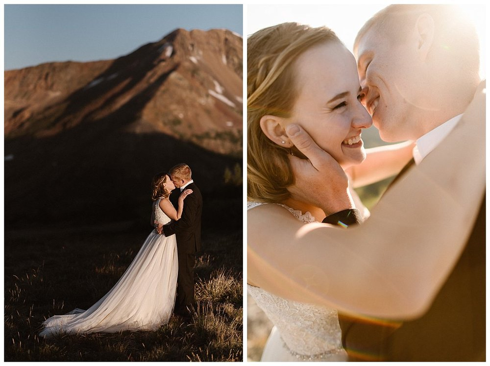 And like that, with the sun just over the mountains they were wed. Their first kiss like something from a romantic movie. This intimate sunrise elopement at Scarp Ridge near Crested Butte captured by traveling wedding photographer Maddie Mae.
