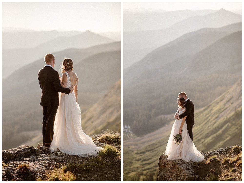 Taking in the quiet and allowing themselves a few moments to let their private elopement on Scarp Ridge really sink in. Photos of this intimate hiking elopement near Crested Butte, Colorado was photographed by traveling wedding photographer Maddie Mae.