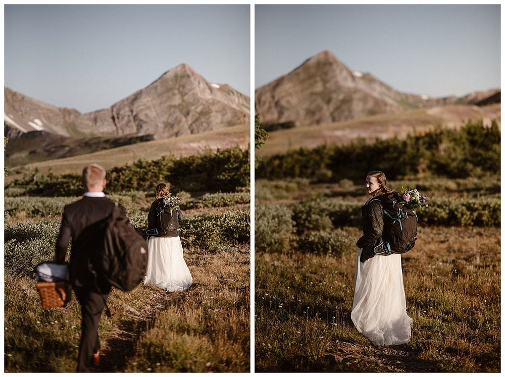 With her flowers secured in her backpack, Kourtney turned around to check in on her new husband as they hiked their way up Scarp Ridge for their intimate elopement. Photos by Colorado native and traveling wedding photographer Maddie Mae.