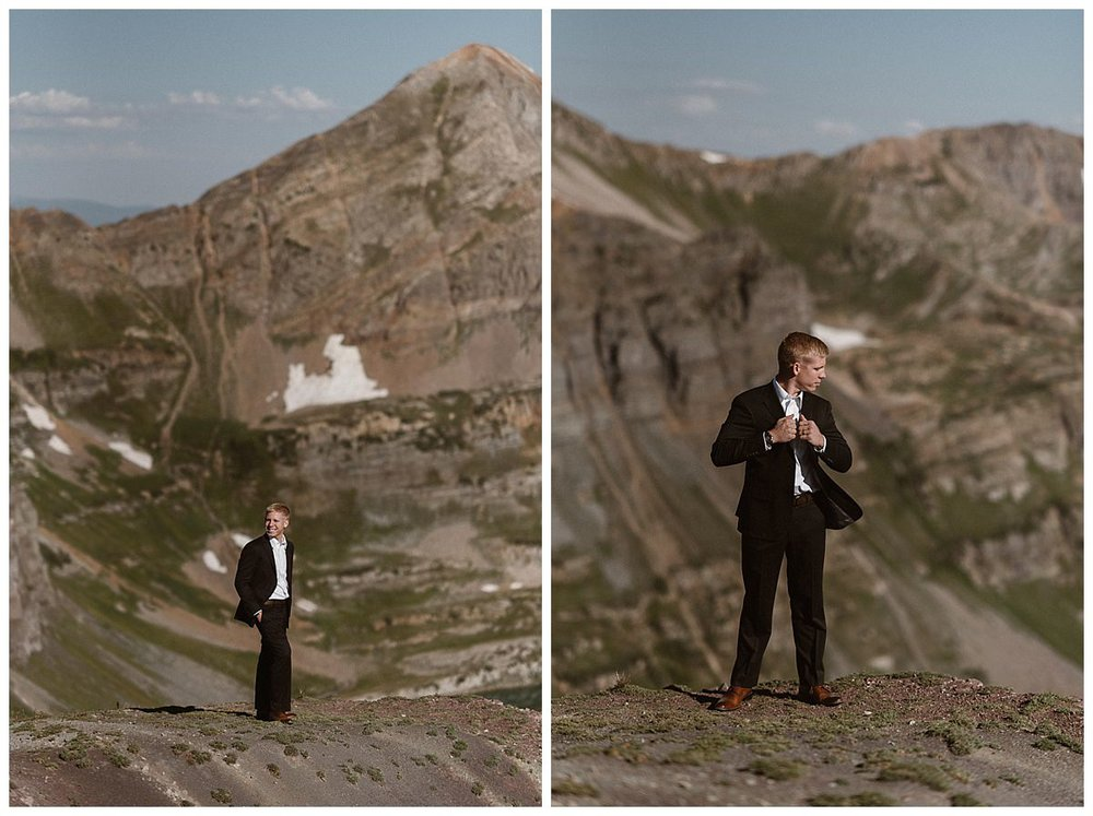 Although throwing the traditional wedding to the wind, Gabriel looked as sharp as any groom in his black suit and white tie. Photos of this adventurous couple's elopement up Scarp Ridge near Crested Butte captured by intimate wedding photographer Maddie Mae.