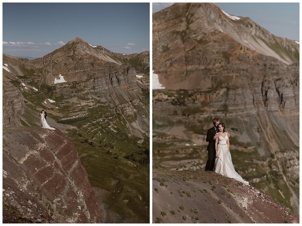 Kourtney and Gabriel hiked around Scarp Ridge outside Crested Butte Colorado for their intimate elopement ceremony. This adventurous couple opted for a private ceremony at sunrise and epic elopement portraits with their intimate wedding photographer Maddie Mae.