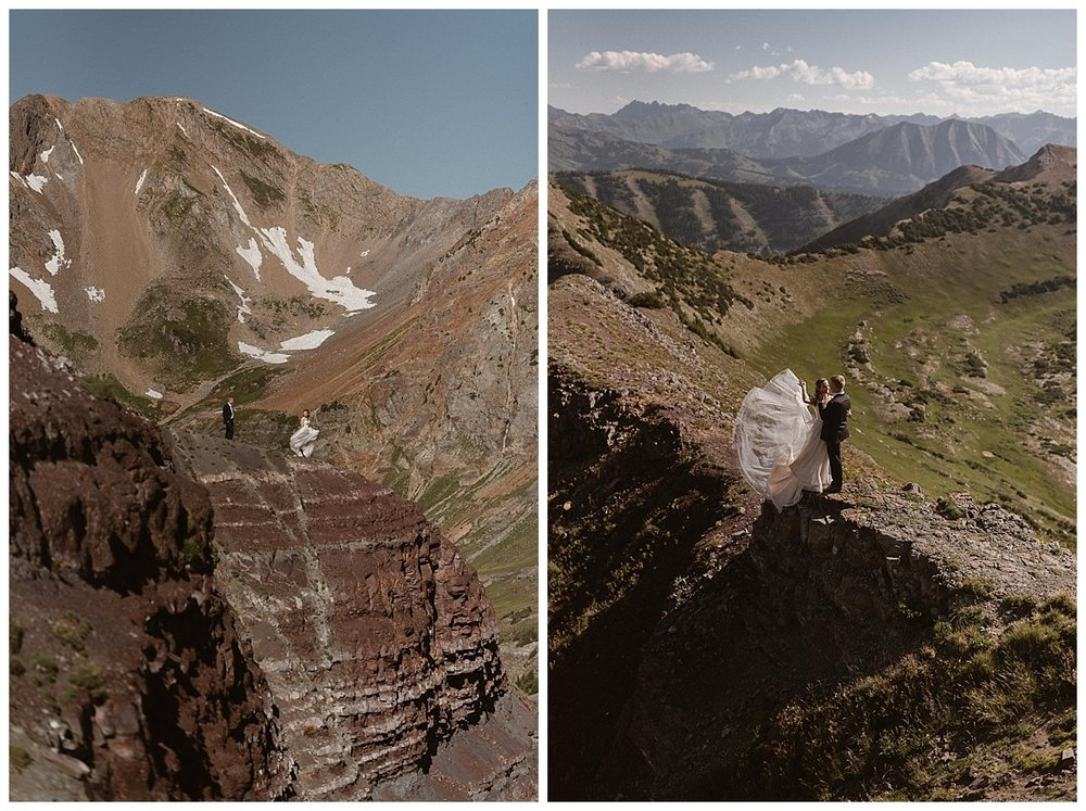 As they hiked high above Crested Butte on Scarp Ridge Kourtney and Gabriel looked down at the valley below as the wind caught her flowing white wedding dress making her look like an angel on a mountain top. Photos of this adventurous elopement through the Colorado mountains by intimate wedding photographer Maddie Mae.