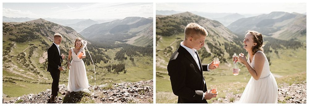 With pink fizzing bubbles flowing Kourtney and Gabriel said cheers and giggled as they celebrated the final moments of their intimate elopement on Scarp Ridge in Crested Butte with only their traveling wedding photographer Maddie Mae with them.