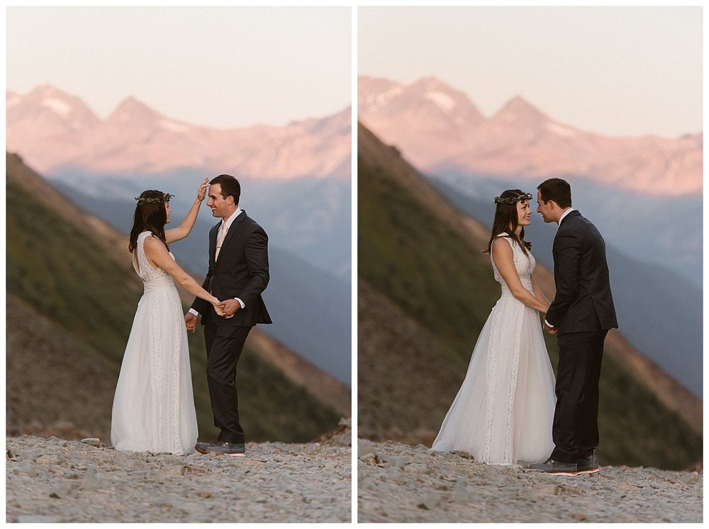 Joy brushed the hair from Clint's face as the high alpine winds blew in the San Juan Mountains as the sun rose. This adventurous couple opted for a Jeep 4x4 excursion to a private location above Telluride for their intimate first look before their small wedding ceremony at the Telluride Ski Resort. Photos of this epic adventure by traveling elopement photographer Maddie Mae.