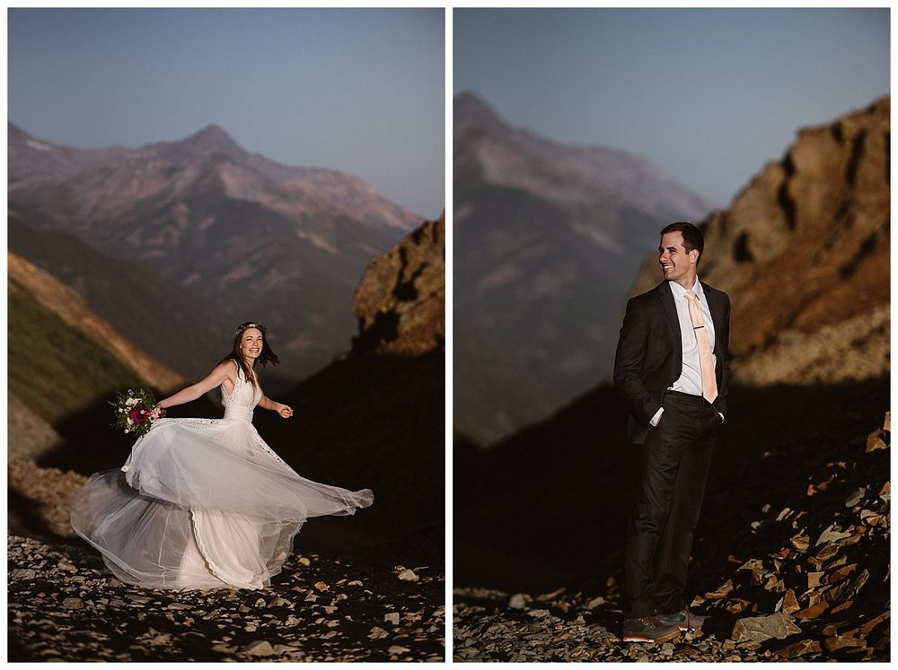 This adventurous couple was nothing but smiles and giggles as they prepared to say their intimate wedding vows at the Telluride Ski Resort. They calmed their nerves with a private first look at sunrise in the San Juan Mountains with only their intimate wedding photographer Maddie Mae.