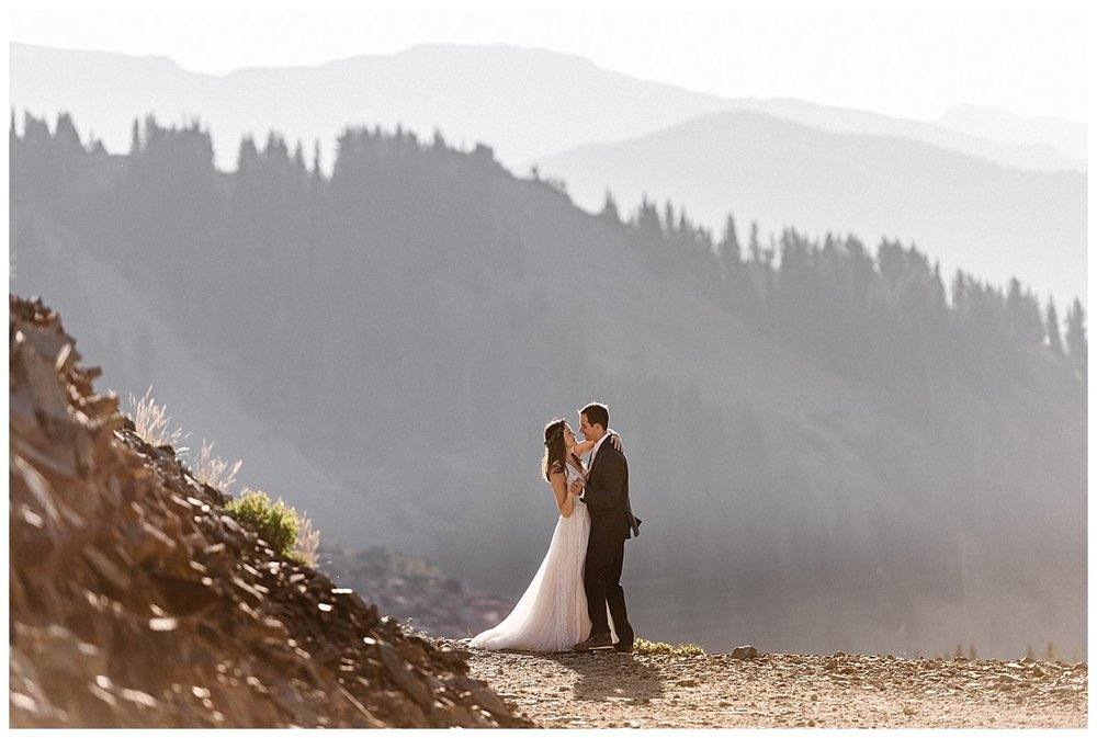 There's nothing as romantic as a private sunrise first dance in the San Juan Mountains. This adventurous couple was up before the sun in their Jeep 4x4 to celebrate their nuptials with an intimate first look up Ophir Pass with only their intimate wedding photographer Maddie Mae as their witness.