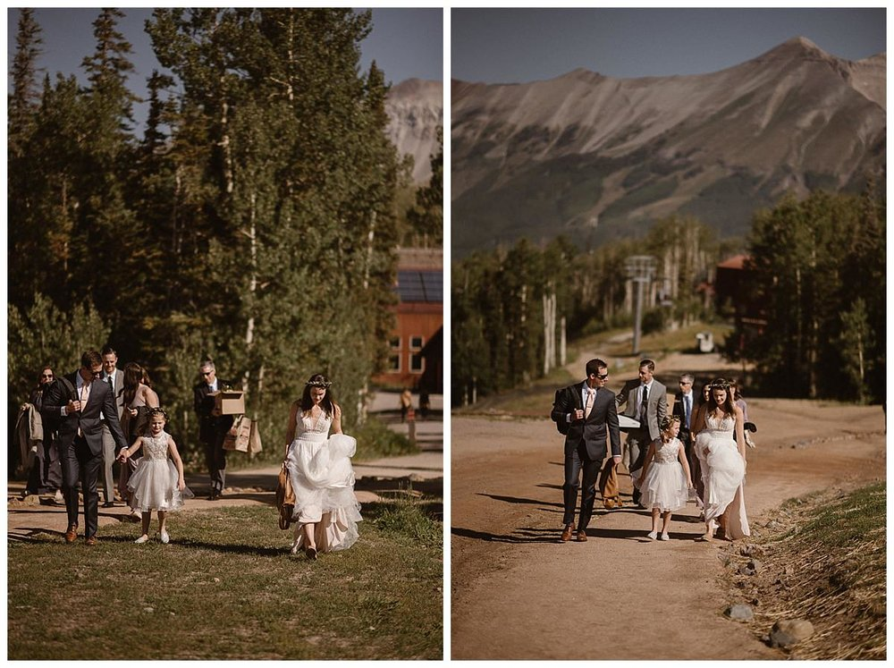 As they made their way from the gondolas to their wedding site, their small entourage all pitched in carrying the details for their intimate ceremony. This intimate Telluride Ski Resort wedding photographed by traveling elopement photographer Madde Mae.