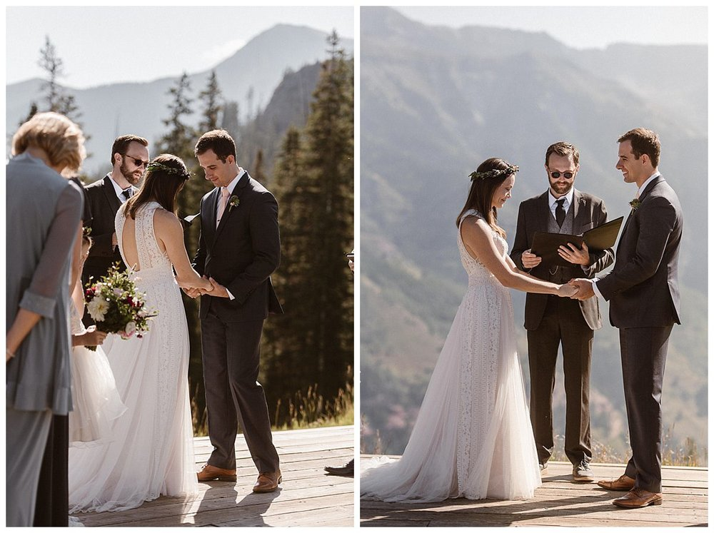 They began their intimate wedding ceremony with heads bowed for a prayer. This romantic wedding at the Telluride Ski Resort was captured by intimate elopement photographer Maddie Mae.