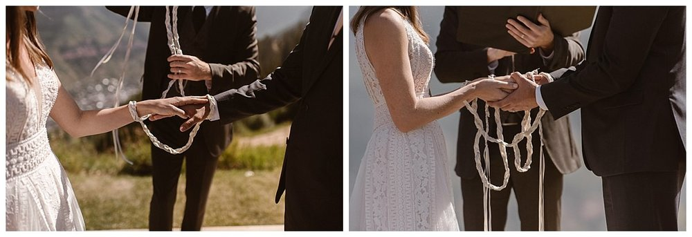 "Their officiant literally ""tied-the-knot"" as he read scriptures from Celtic times at this non-traditional mountain wedding at Telluride Ski Resort. Photos of this romantic wedding ceremony by intimate elopement photographer Maddie Mae."