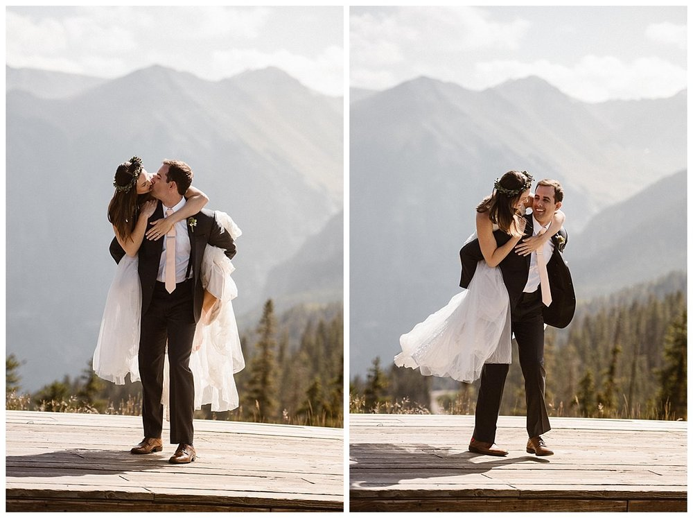 Seeming to be a theme of their adventurous wedding day, Joy jumped on her husbands back, affectionately kissing him and truly showing their playful sides. This romantic intimate wedding at the Telluride Ski Resort was captured by traveling elopement photographer Maddie Mae.