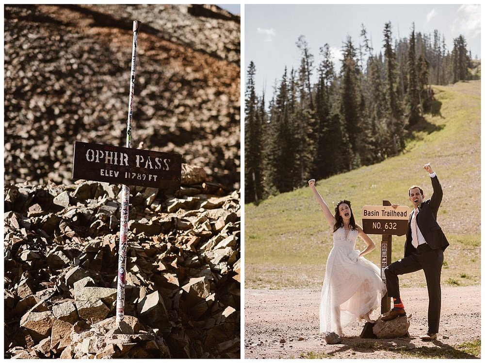 Like true adventurers, Joy and Clint opted out of the traditional church wedding and rented a Jeep 4x4 so they could hike high into the San Juan Mountains before sunrise to share a few intimate moments before their small wedding ceremony at Telluride Ski Resort. Photos of this epic adventure by intimate elopement photographer Maddie Mae.
