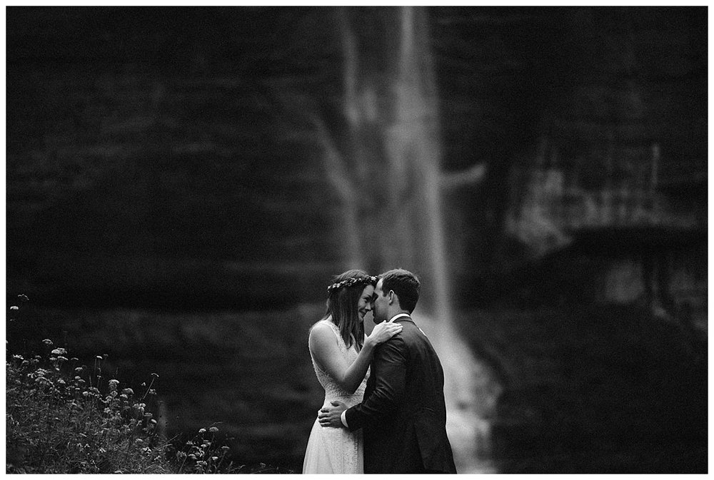With Bridal Veil Falls crashing down behind them, Joy and Clint paused for one last intimate moment with their traveling wedding photographer Maddie Mae photographing each affectionate moment. This adventurous duo opted out of a large wedding and said their vows amongst an intimate group of family and friends at the Telluride Ski Resort with the San Juan Mountains as their backdrop.