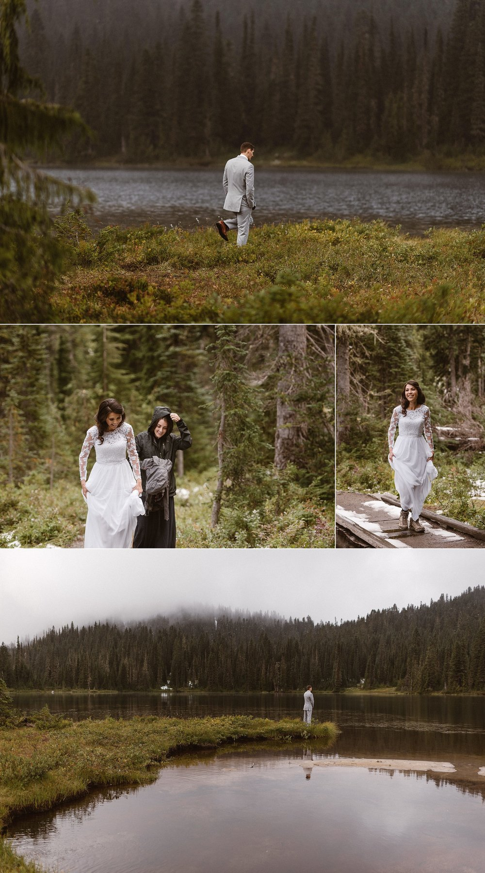Resa walked out of the woods in the mist with her maid of honor. She saw her handsome groom waiting patiently for her in the clearing of Mount Rainier National Park in Washington where they would soon say their vows in a private ceremony attended only by their closest friends and intimate wedding photographer Maddie Mae.