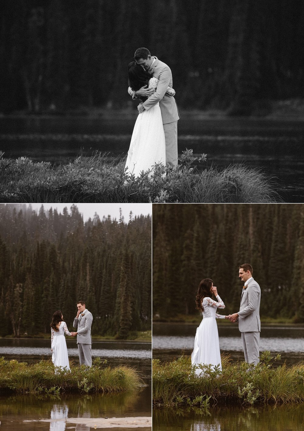 Resa and Grant both became emotional with excitement and joy. They threw tradition to the wind and opted for an intimate wedding ceremony in a private location in Mount Rainier National Park with on two witnesses and their intimate traveling elopement photographer Maddie Mae.