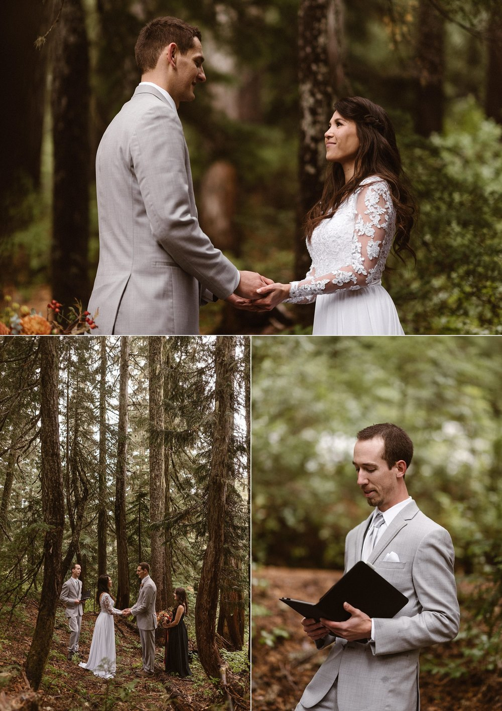 Grant's best man began their ceremony with words of love and commitment, adventure and challenges. These two adventurous souls knew they'd found their perfect match and chose to express their love in their way by eloping in Mount Rainier National Park with their two friends and intimate traveling wedding photographer Maddie Mae.