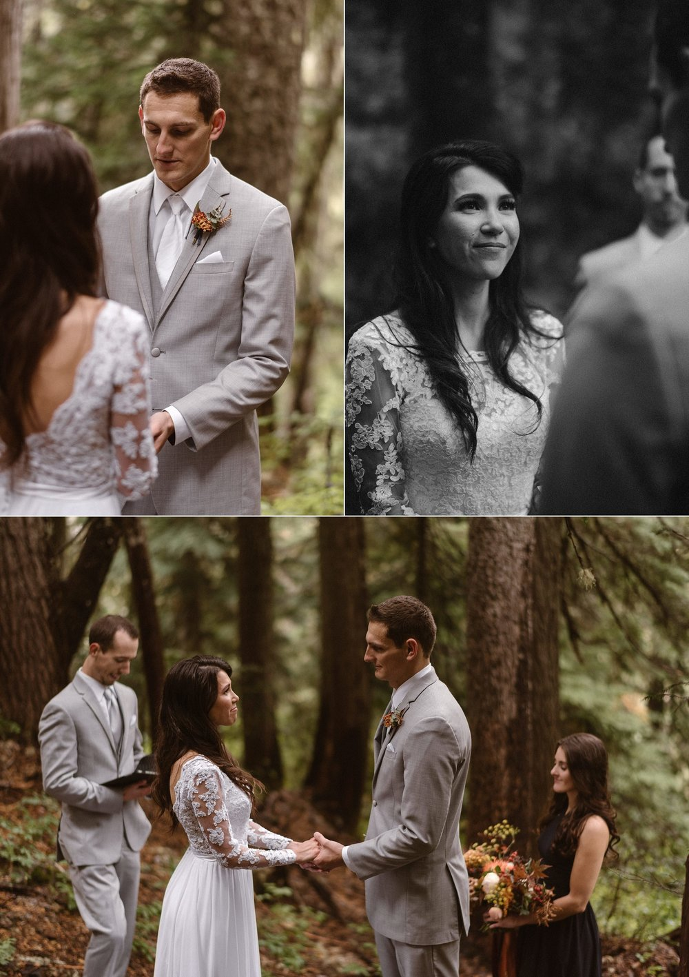 They held back tears of joy as their intimate elopement ceremony in Mount Rainier National Park among the ferns and tall trees started to come to an end. Photos of this emotional and private forest wedding by traveling wedding photographer Maddie Mae.