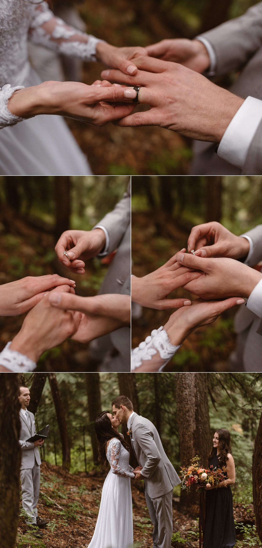 Although their wedding was hardly anything but traditional they exchanged rings after their emotional wedding vows. No wedding - no matter how big or small is complete without a first kiss. This intimate Mount Rainier National Park wedding on a foggy morning was captured by traveling elopement photographer Maddie Mae.