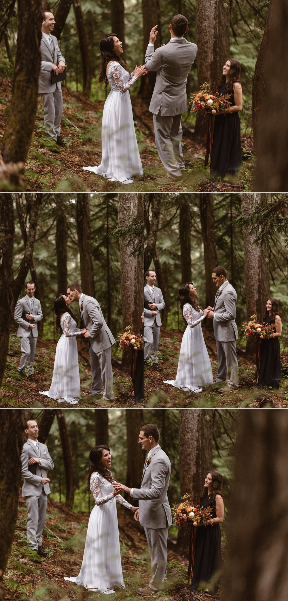 With no one around but their closest friends and traveling elopement photographer Maddie Mae, Resa and Grant let out hoots and hollers of excitement to celebrate their intimate marriage among the trees in Mount Rainier National Park in Washington state.