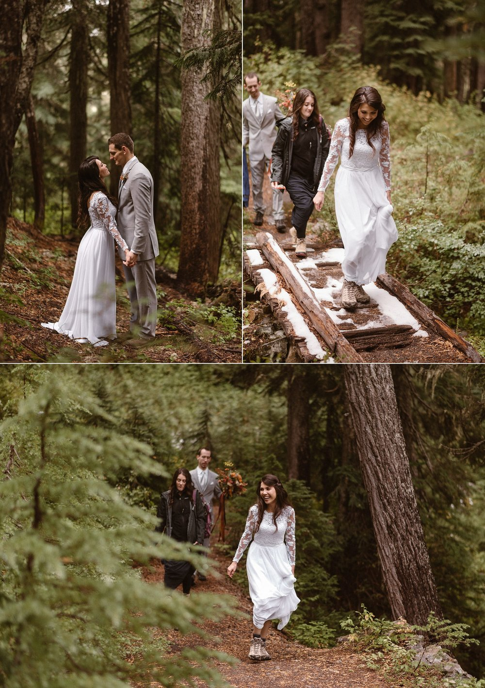 They hiked back to the fork in the road where they said their goodbyes to their friends and began their hiking adventure with their traveling elopement photographer Maddie Mae. Their plans of eloping in two other locations in Washington state were foiled so with help of their destination wedding photographer they were able to find a perfect private location in Mount Rainier National Park.