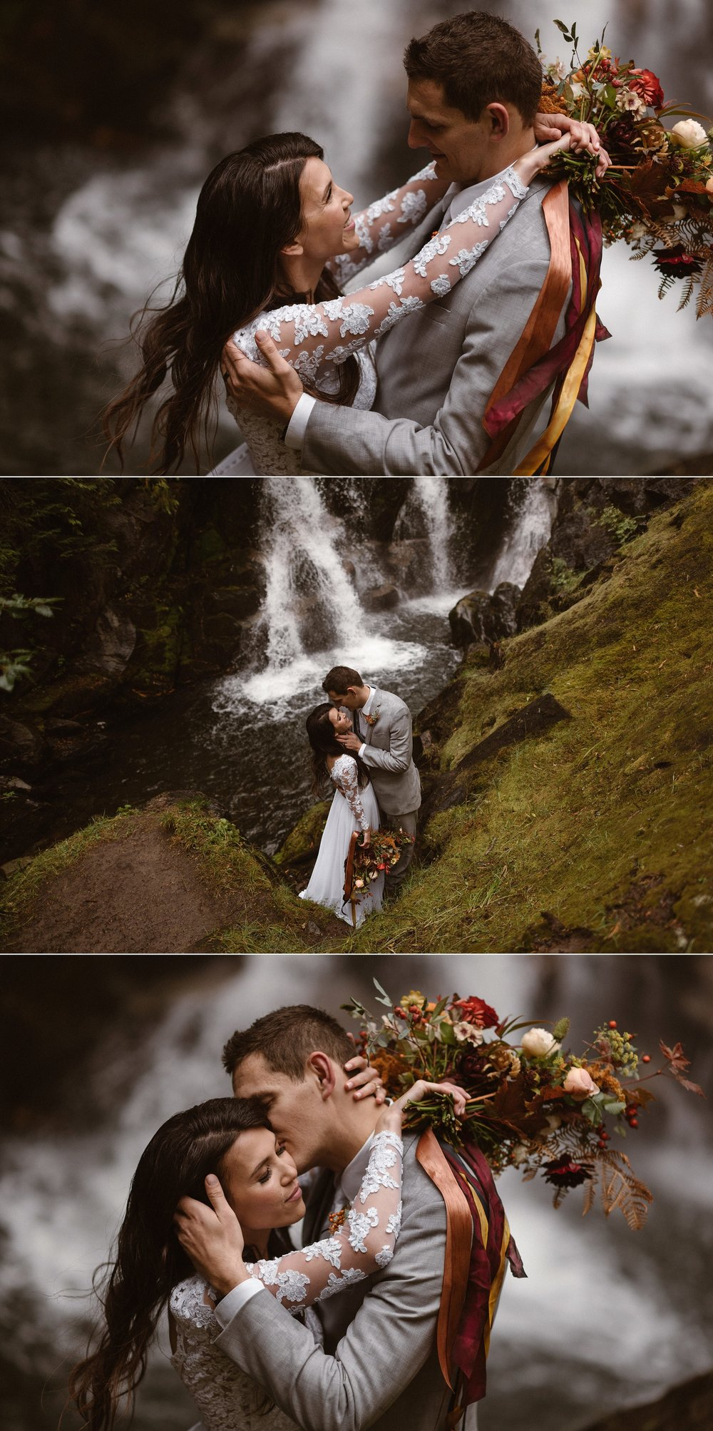 The wandered through the trees towards the sound of water when they found a little waterfall jutting out through the mountainside. Mount Rainier National Park is a stunning location for an intimate wedding or elopement for the adventurous types who wish to say their vows in nature. Photos of this romantic wooded elopement by traveling wedding photographer Maddie Mae.