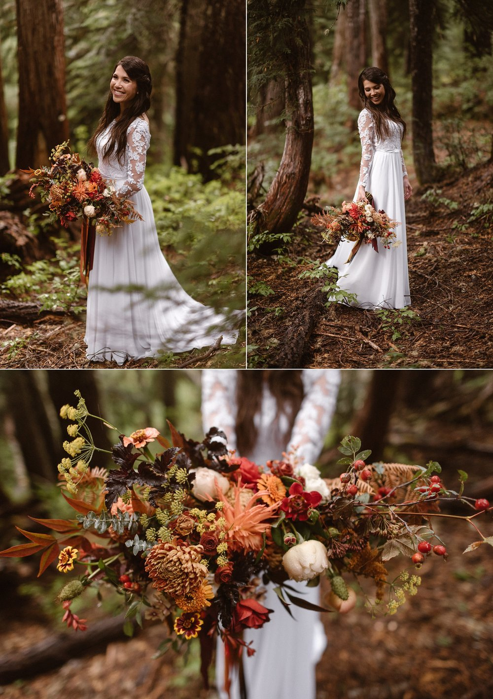 Resa knew that she wanted a bouquet full of color and life with a variety of wild flowers and foliage. Her warm toned oversized tumbling bouquet looked like fire against her bright white wedding dress and the muted greens and earth tones of the forest in Mount Rainier National Park where she and Grant had just eloped with their closest friends and intimate wedding photographer Maddie Mae.